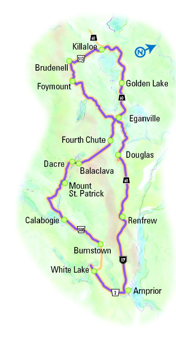 """""""Switchbacks & Shorelines"""" Driving Tour. This tour meanders along the backroads of the Bonnechere and Madawaska River valleys, through the heart of the Ottawa Valley."""