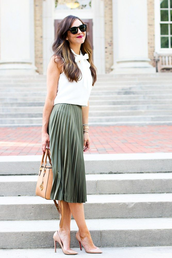 Adorable army green pleated midi skirt & white sleeveless bow blouse