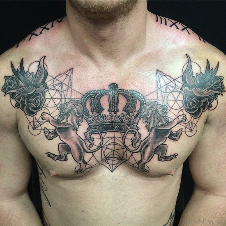 Crown Chest Tattoo