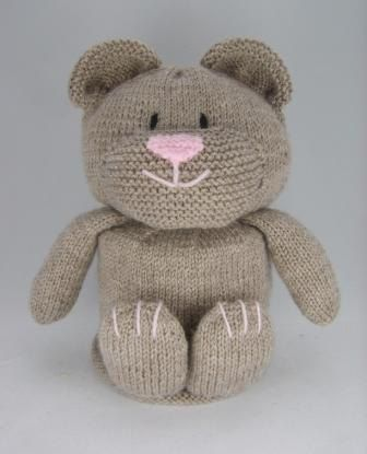 Knitting Pattern for Teddy Bear Toilet Roll Cover - Adorable toilet roll cozy is a cute addition to bath decor.