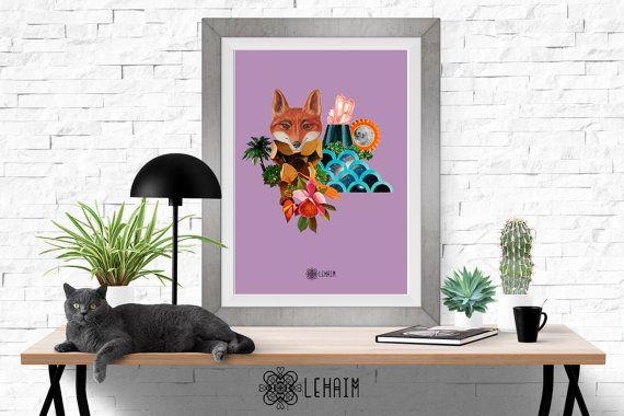 Foxy of the Future print Boho style Bohemian wall por LehaimDesign