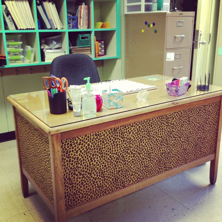Fabric covered desk! Just cut fabric to fit panels on desk ...