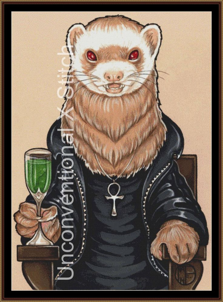 Vampire Dracula ferret cross stitch pattern - modern counted cross stitch - Licensed Natalie Ewert by UnconventionalX on Etsy