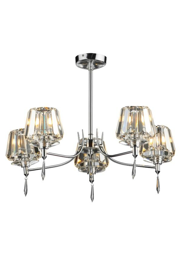 An elegant and sleek 5 light semi flush light fitting with crystal shades and polished chrome frame. This light is perfect for adding a touch of class to a hallway or living room.