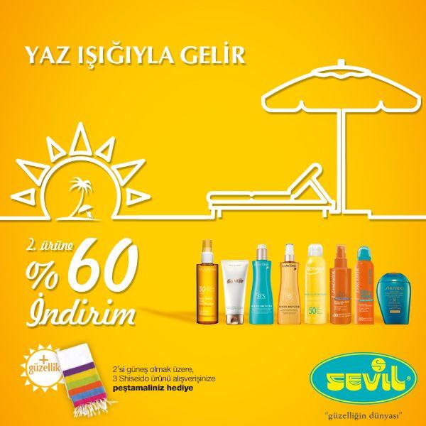 Sevil'den yapacağınız güneş ürünü alışverişlerinizde 2. Ürüne %60 indirim! Sevil #Espark zemin katta.
