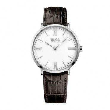 1513373 Ανδρικό quartz ρολόι HUGO BOSS με λευκό καντράν & καφέ δερμάτινο λουρί | Ανδρικά ρολόγια BOSS ΤΣΑΛΔΑΡΗΣ στο Χαλάνδρι #Boss #jackson #λουρι #ανδρικο #ρολοι