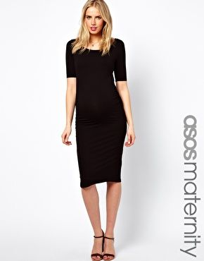 Image 1 of ASOS Maternity Exclusive Body-Conscious Midi Dress With Half Sleeve