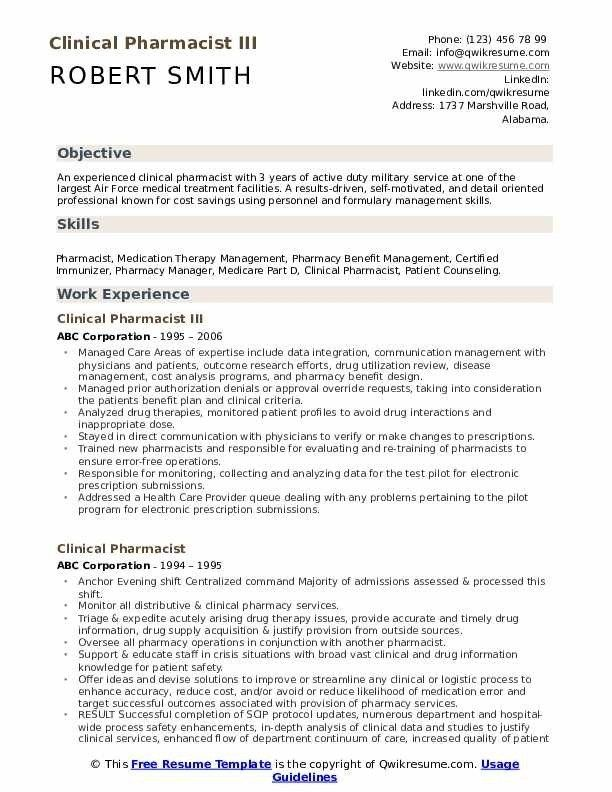 Pharmacist Curriculum Vitae Template from i.pinimg.com