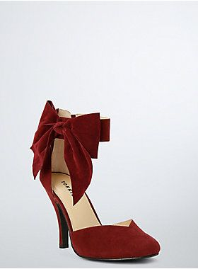 "<p>Bow down, ladies. You're not gonna find a more elegant pump. A merlot design that's primed for date night, the d'orsay style lets you flash some sole. The closed toe pump gets a feminine boost with an oversized bow at the ankle.</p>  <ul> 	<li>4"" heel</li> 	<li>Man-made materials</li> 	<li>Imported</li> </ul>"