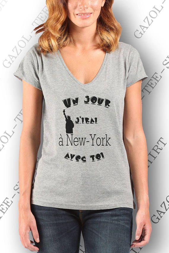 Tee-shirt femme 100% coton  Un jour j'irai à