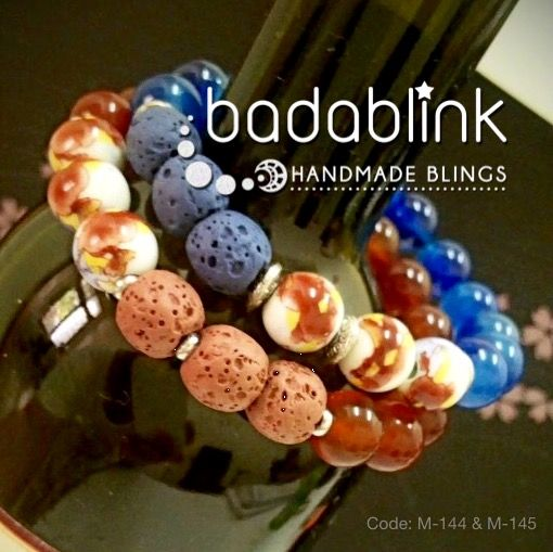 Blue and terracotta lava stones, natural stones, and metal bracelets with white ceramic beads | Material: lava stones, ceramic and metal   | Length: 18-22 cm/7-9 inches   | Inquiries: facebook.com/badablink    | Line: badablink    | Email: hello@thebadablink.com