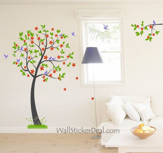Vinyl Wall Decals Tree Wall Decals Green Tree Orange Flower Blue Birds In  Spring Nature Wall Dcals Wall Murals Nursery Wall Decals Cuma Part 93
