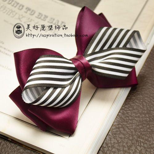 美好愿望 手作原创 发饰发夹 紫色条纹高贵蝴蝶结-淘宝网