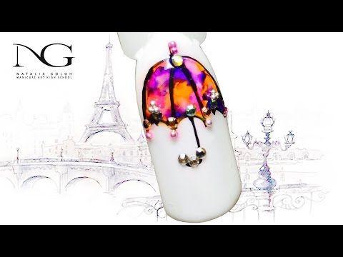 "@pelikh_""Ювелирный зонтик"" - дизайн ногтей со стразами Swarovski / Nail art with Swarovski crystals - YouTube"