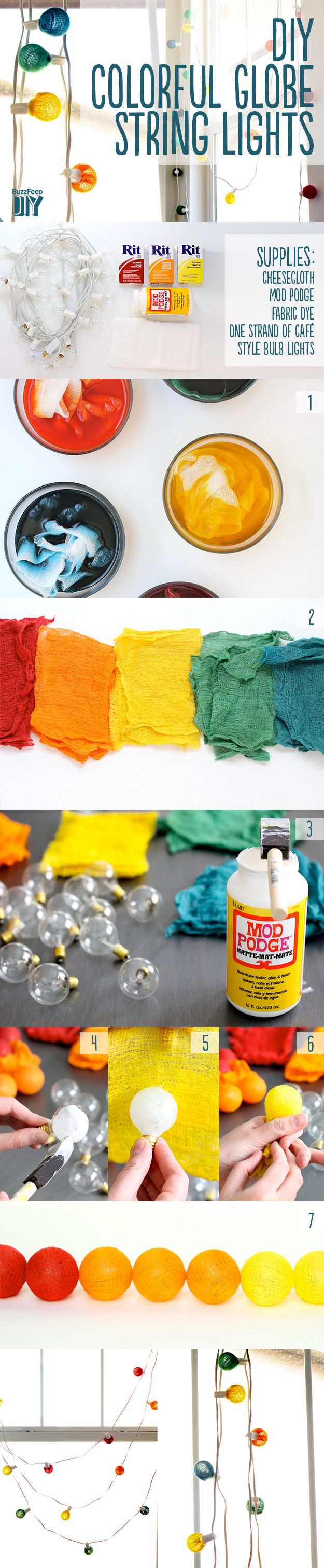Cover bulbs with dyed cheesecloth. | 46 Awesome String-Light DIYs For Any Occasion