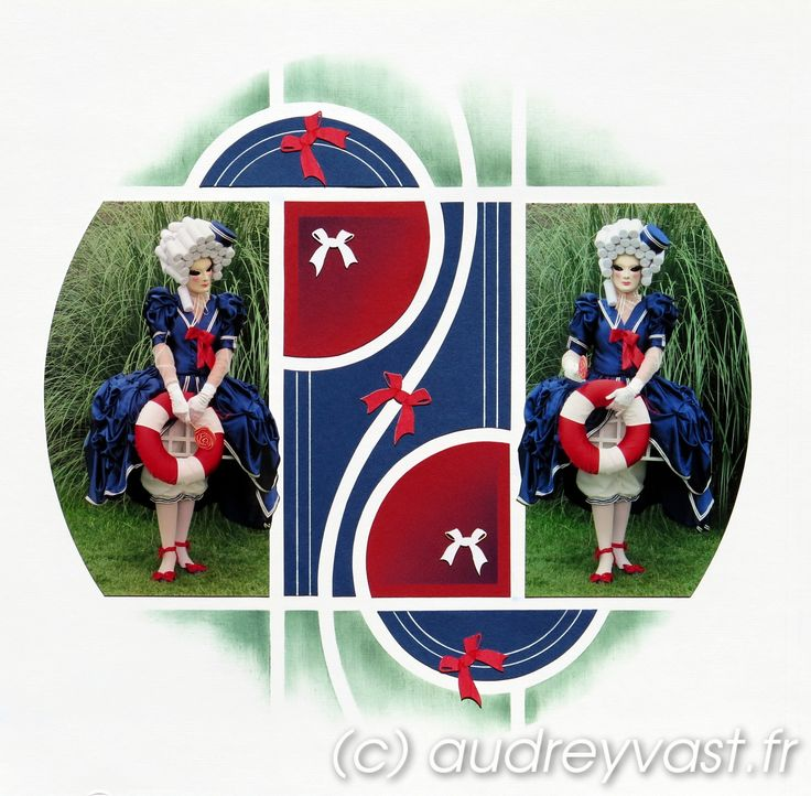 <p>Un vrai coup de coeur pour ce nouveau gabarit !!! Une petite page sur les costumés vénitiens qui viennent chaque année au Jardin St Adrien de Servian, dans l'Hérault ( élu plus beau jardin de France en 2014 par les français) Page blanche, papier rouge, papier bleu, encre vert foncé, …</p>