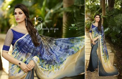 Grey And Blue Printed Georgette Saree(Rf20044) Sarees on Shimply.com