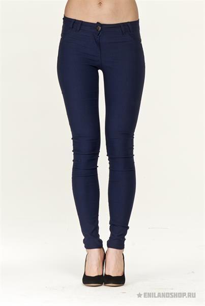 Синие брюки стрейч женские