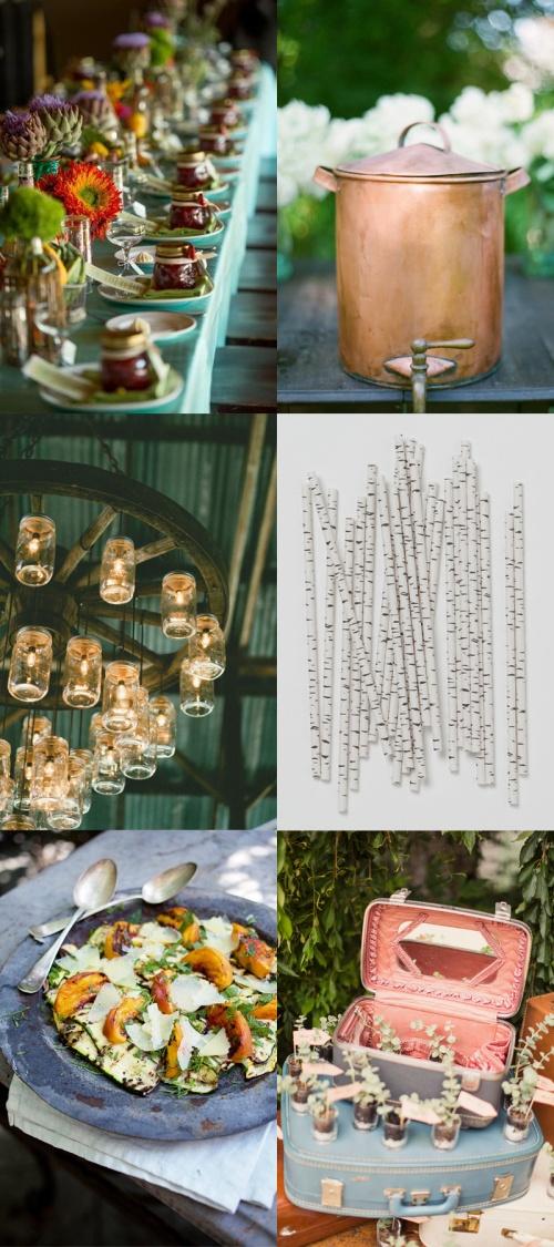 A rustic bridal shower - mason jars, copper drink dispenser, even faux bark straws!