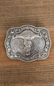 Nocona Western Mens Belt Buckle Oval Skull Star Silver 37944