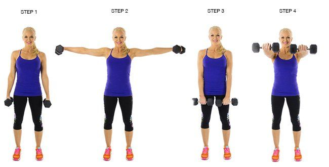 SHOULDERS - Dumbbell Front + Lateral Raise:  Stand w/feet shoulder-width apart w/a dumbbell in each hand & palms facing in.  W/O bending the elbows, raiser your arms out to your sides until they are at shoulder level. Pause for a second at the top of the movement, then slowly lower the weight back to the starting position.  F/the original start position you will raise the arms back up, but instead of going out to your sides, raise them straight out in front of you. Pause, & slowly lower ...