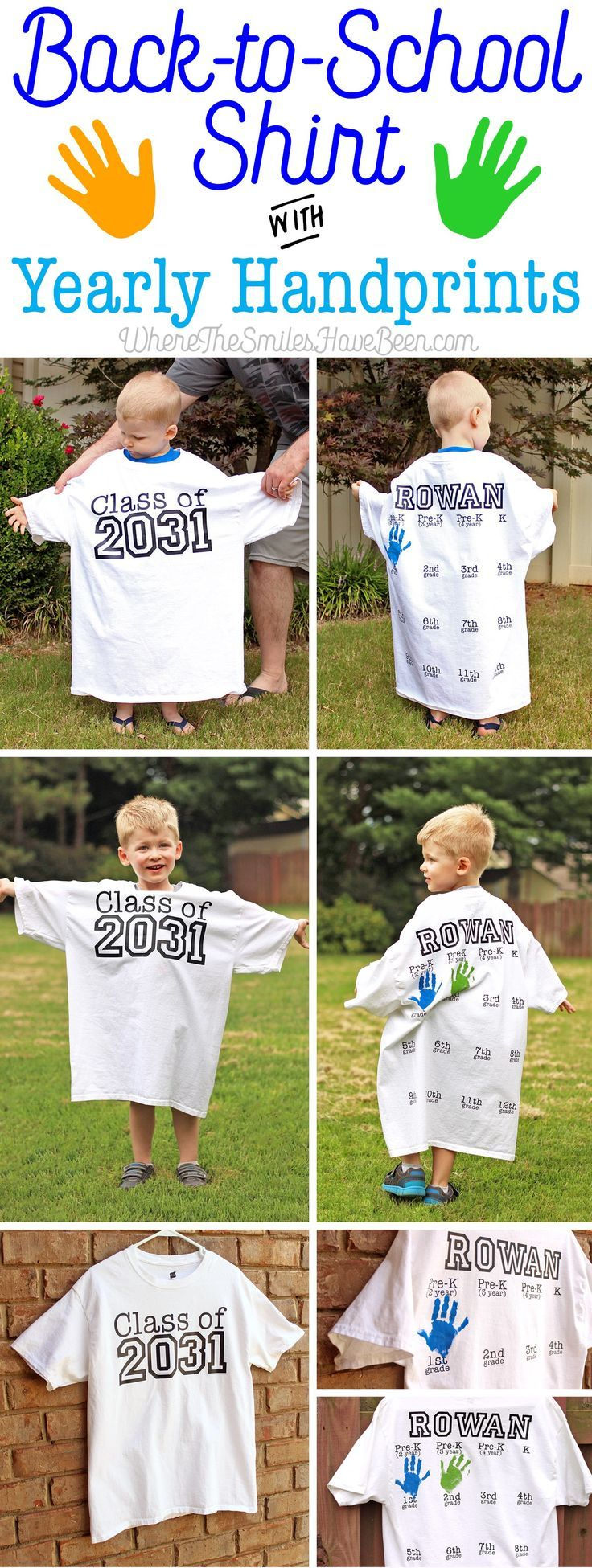Learn how to create this cute keepsake for your child that you can update each school year! Back-to-School Shirt with Yearly Handprints: Year 2!   Where The Smiles Have Been