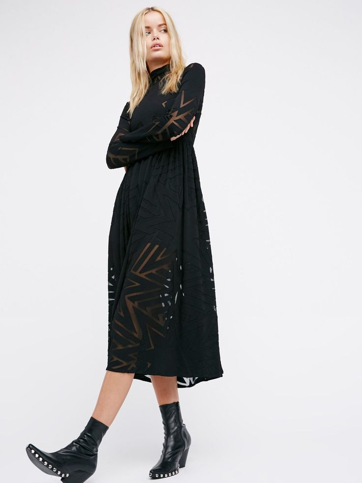 Burnout Midi Dress | Gorgeous long sleeve midi dress featuring sheer mesh patterns throughout. Elegant high neckline with a defined waist and a femme fit-and-flare shape. Seperate slip included with a slim fit and stretchy fabrication.