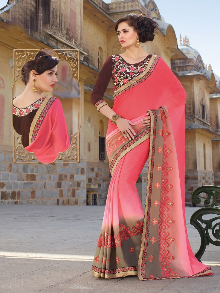 Fabric : S- Georgette B- Velvet Size : Saree-5.50 m Blouse-0.80 m Work : Embroidered Type : Saree