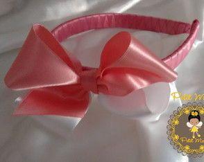 Tiara Forrada c/ Laço Rosa e Branco