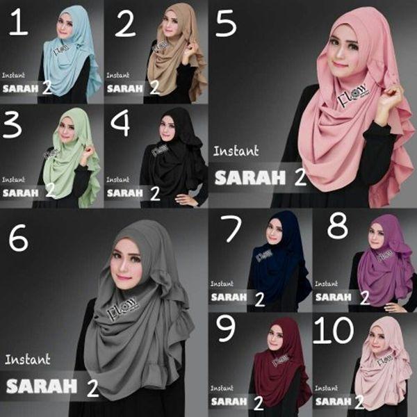 Jilbab Instan Sarah Hijab pashmina instan bahan diamond, dengan aksen rempel di bagian sekeliling ujung jilbab, praktis tinggal pakai, tidak menerawang