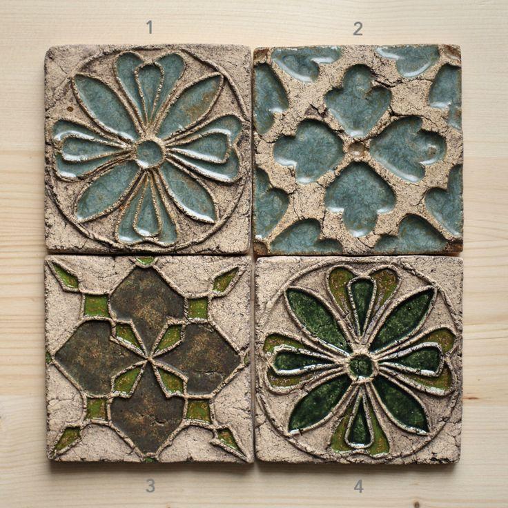 Hecho a mano cerámica azulejos rústicos para baño/cocina Backsplash de HerbariumCeramics en Etsy https://www.etsy.com/es/listing/276520812/hecho-a-mano-ceramica-azulejos-rusticos