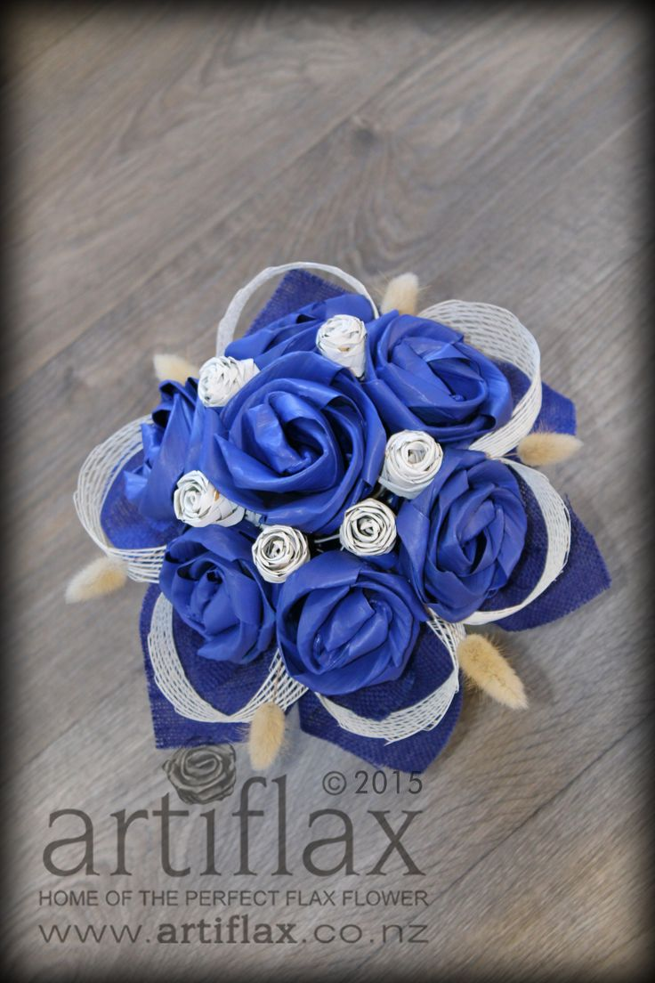 Cobalt blue and white flax flower wedding bouquet by Artiflax