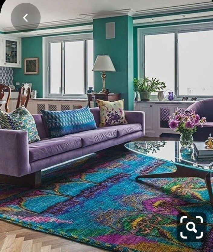 Pin By Viviana Campbell On Interiores Y Más Purple Living Room Colourful Living Room Turquoise Living Room Decor