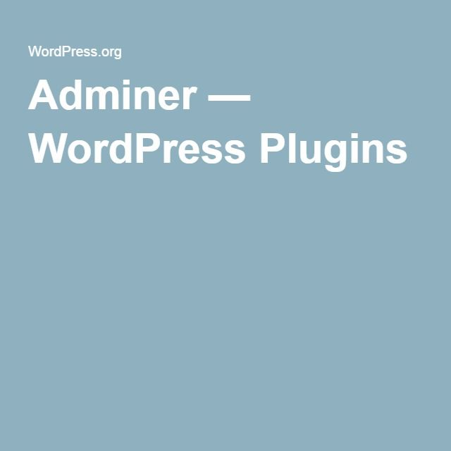 Adminer — WordPress Plugins
