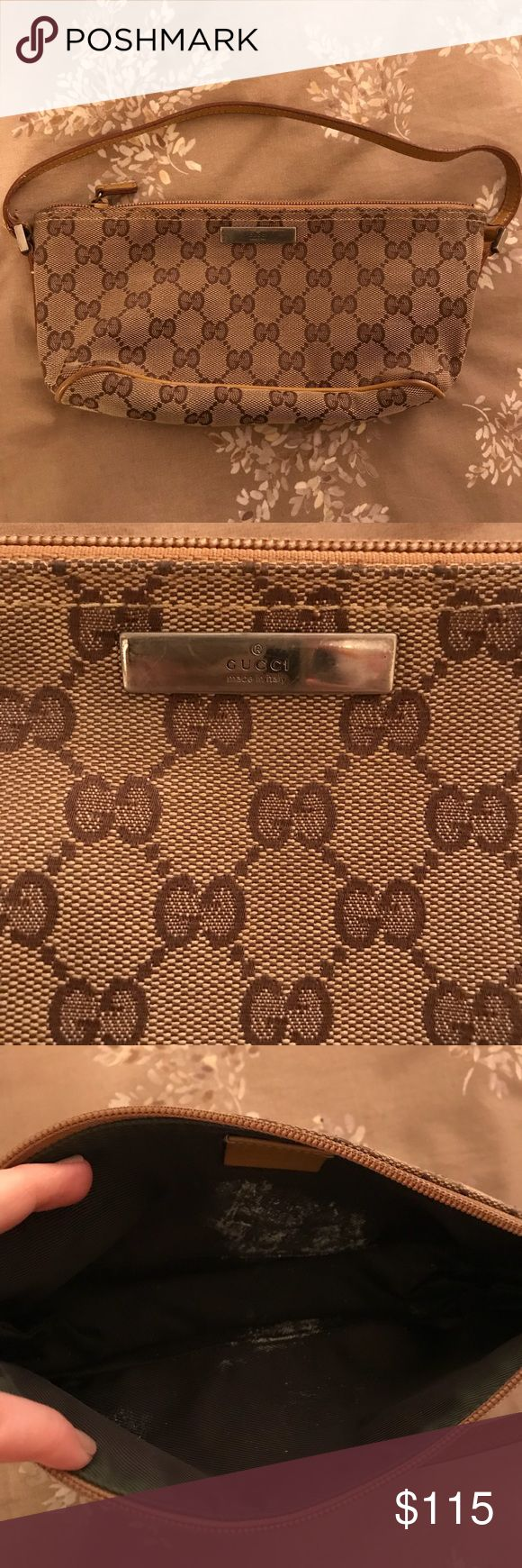 Gucci Monogram Pochette Small Shoulder Bag (Brown) 100% authentic Gucci monogram small shoulder bag in brown with tan wiring. Authenticity tag on the inside of the purse. Does have some white paint like stains inside and a little on the back. (See pictures above.) Other than that it still looks great! Gucci Bags Shoulder Bags