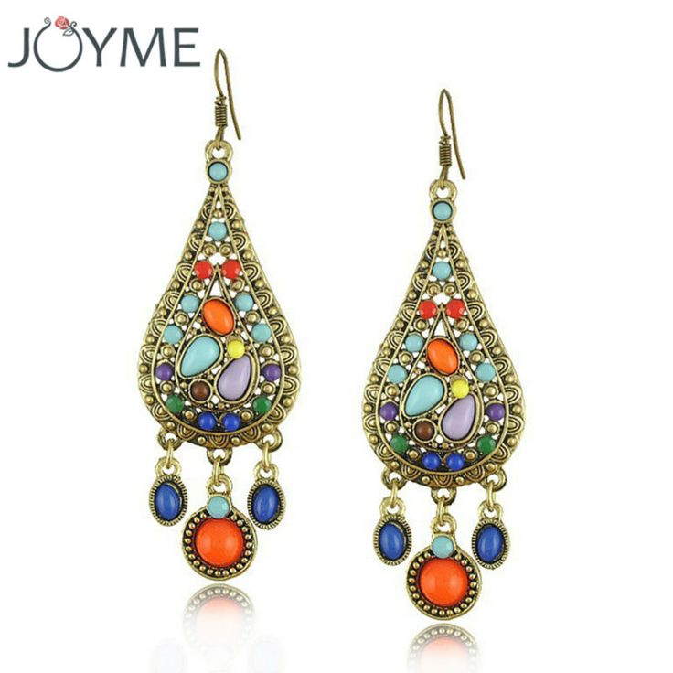 Joyme Ethnic Style Vintage Bohemian Colorful Resin Long Hanging Pending Earrings Women Aros Brincos Wedding Engagement Jewelry
