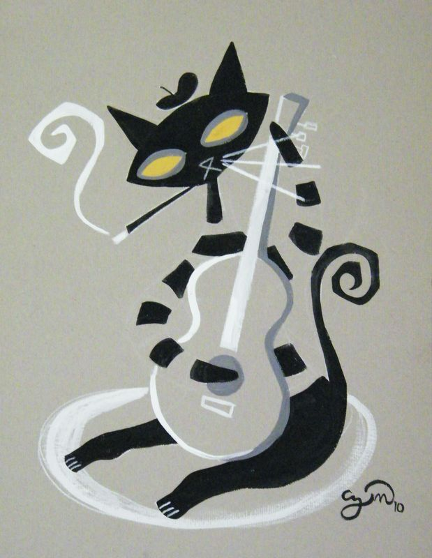 Jazz Cat. El Gatto Gomez. #musicart http://www.pinterest.com/TheHitman14/music-drawn-%2B/