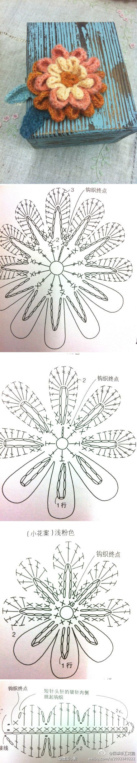 Crocheted Flower - Chart ❥ 4U // hf