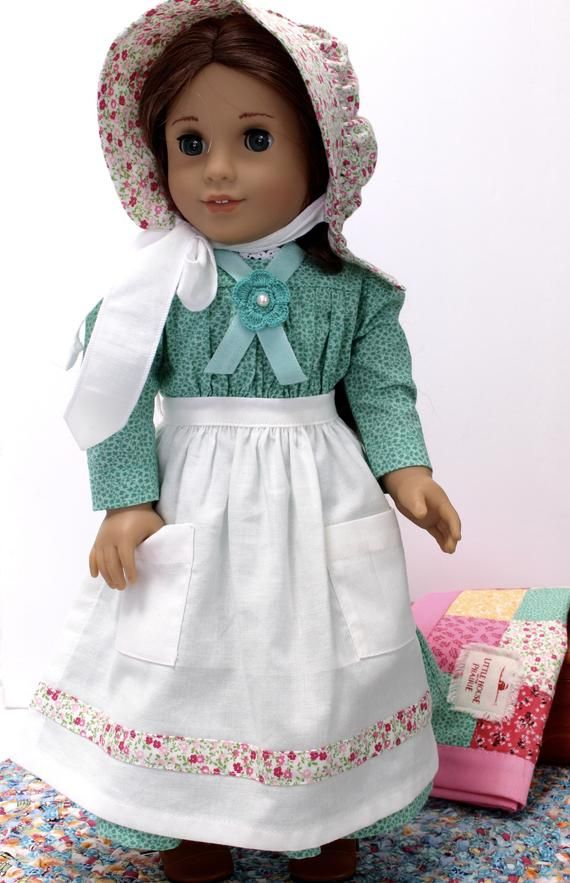 18 Inch Doll Clothes 1870s Pioneer Outfit 7 Pieces Summer Best Dress Green This Piece Features A Gathered Bodice With Yoke And