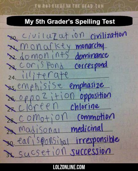 My 5th Grader's Spelling Test#funny #lol #lolzonline