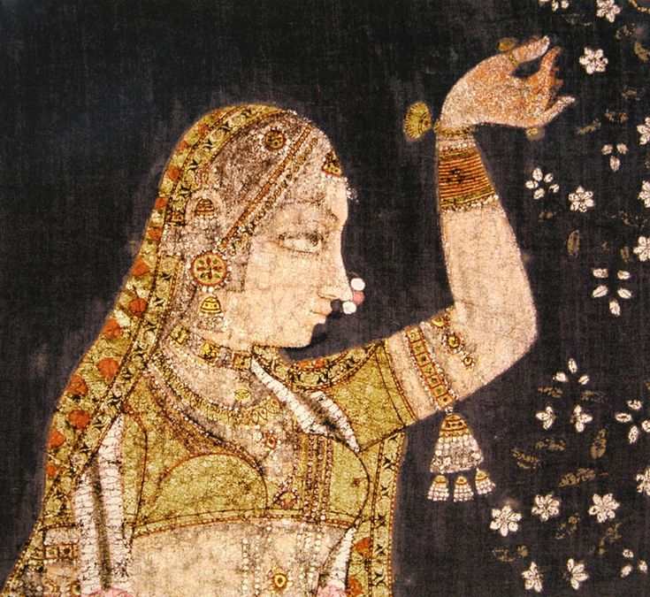 Varsha ( Sharad Purnima ) festival. Pigments, gold and silver on cotton. Deccan late 18th century. detail