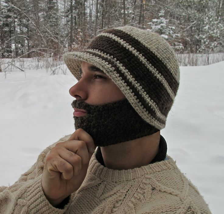 Brimmed Beanie with Detachable Beard - I *love* the hat part of the pattern!!