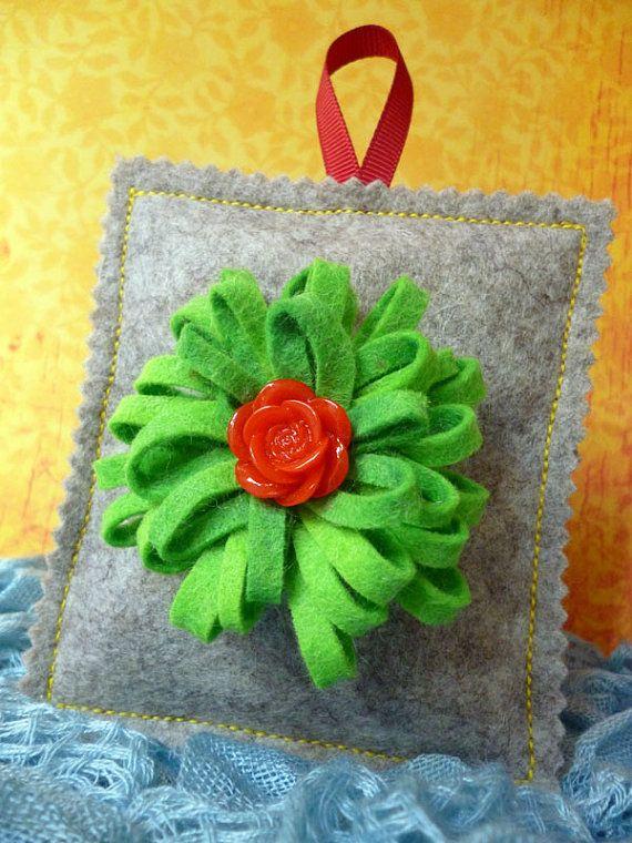Wool felt lavender bag with detachable green felt flower brooch by ColourSplashbyCath, £8.50
