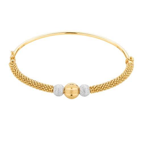 Piękna sztywna bransoletka, doskonała na prezent.  Całość złoto 14K próba 585  Waga 6.88 g