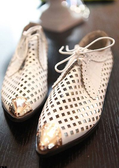 White Metal Cap Toe Lace Up Cut Out Flat