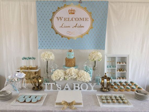 Light Blue And Gold Royal Prince Baby Shower By
