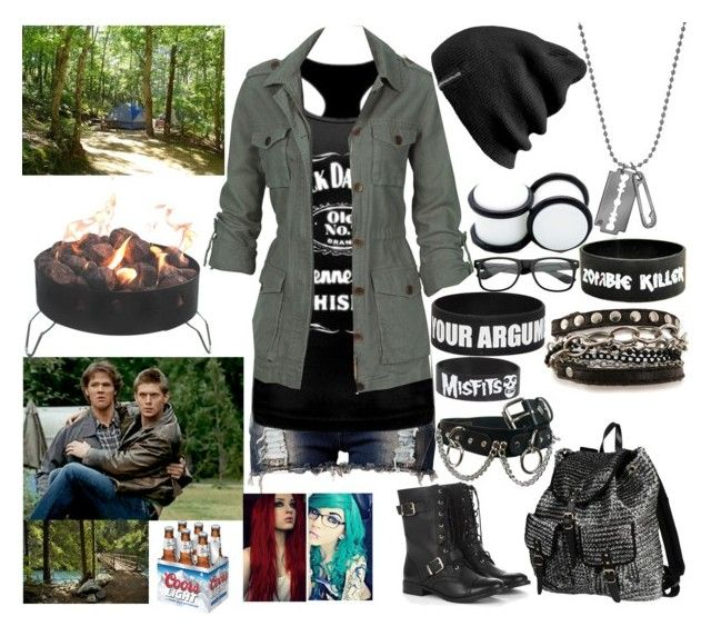"""""""Camping with Sam, Dean, and Kyana :D"""" by digital-minerva ❤ liked on Polyvore featuring Club L, Fat Face, 2 Di Picche Recycled, McQ by Alexander McQueen, Sole Society, Demonia, Goodie Two Sleeves, Mi Lajki, Retrò and Camp Chef"""
