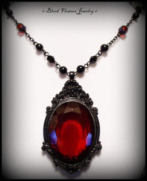 Miserene Ornately Framed Ruby Red Vintage Glass Cabochon
