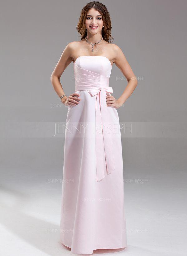Платье-чехол Без лямок Длина до пола Атлас Платье Подружки Невесты с Рябь (007001777)