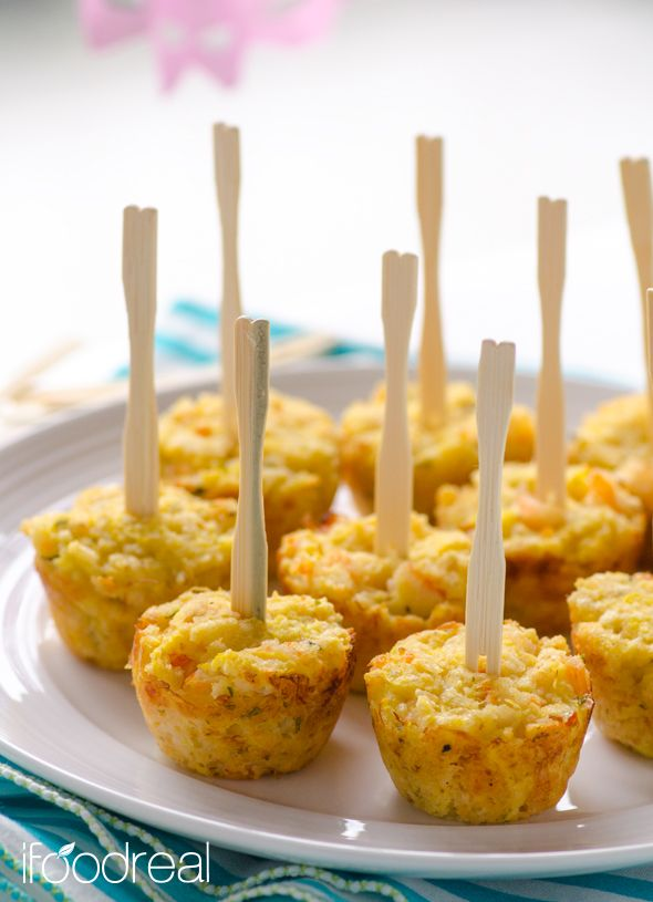 Light Shrimp Puffs - Easy party appetizer made healthy with shrimp, spaghetti squash and low fat cheese. Once baked, the shrimp puffs melt in your mouth and the guests are all over you for the recipe.